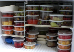 Freezer full of fruit from Kitchen Angels that I was saving for summer