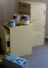 Paint, the color of Buttercream Kraftmaid cabinets, and one of my four batteries
