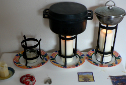 Heating with pillar candles