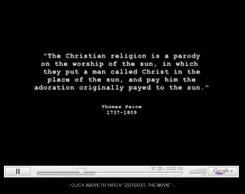 Thomas Paine identified the connection between the Christian religion and previous sun worship