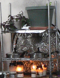 chrome shelving carts make it easy to place candles under pots of water