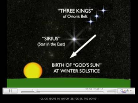 Three Kings ~ stars of Orion's Belt.  Birth of the sun ~ winter solstice